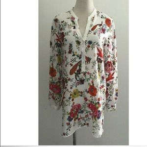 Zara Woman Floral Peacock Tunic Top S